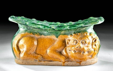 Chinese Ming Pottery Pillow w/ Lion