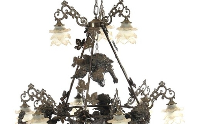 (-), Classic hanging lamp with putti decor, 3...