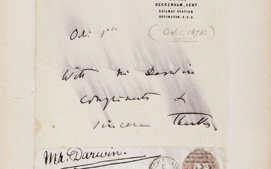 Darwin (Charles) Autograph Note signed to T.W. Newton, Assistant Librarian at the Geological Museum, Down [House] notepaper, 1875, sending his compliments.