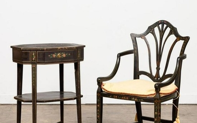 ENGLISH PAINT DECORATED ARMCHAIR & TABLE