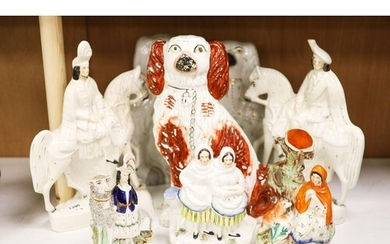Eight Victorian Staffordshire pottery groups or figures, ...