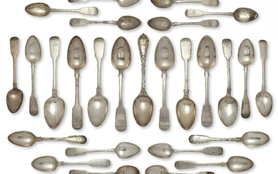 Eight Victorian and earlier silver dessert spoons, all of fiddle pattern design, some with monograms to terminals, various dates and makers including: Dublin, c.1832, Richard Garde and Exeter, c.1825, Simon Levy, together with decorative pattern...