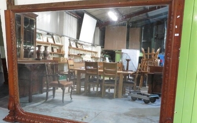 Extremely large Victorian oak framed overmantle mirror with ...