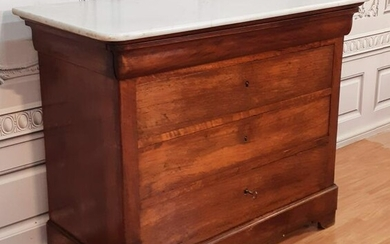 FRENCH LOUIS PHILIPPE WALNUT MTOP COMMODE