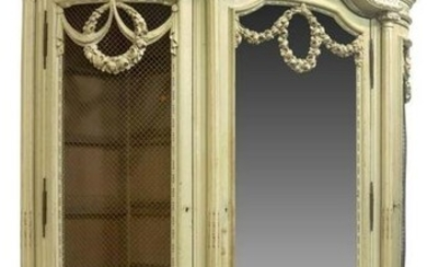 FRENCH PAINTED LOUIS XVI STYLE MIRRORED ARMOIRE