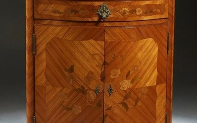 French Louis XV Style Marquetry Inlaid Marble Top