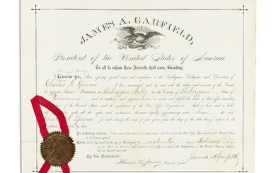 GARFIELD, JAMES A. Partly-printed Document Signed, as