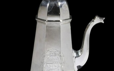 GEORGE I PERIOD SILVER COFFEE POT BY THOMAS PARR I