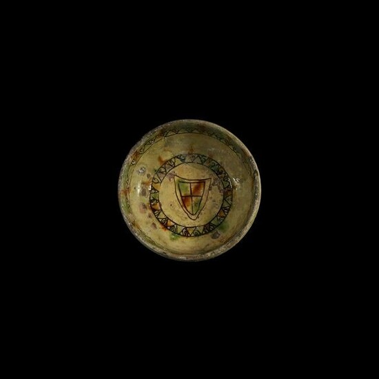 Glazed Sgraffito Footed Bowl with Heraldic Shield