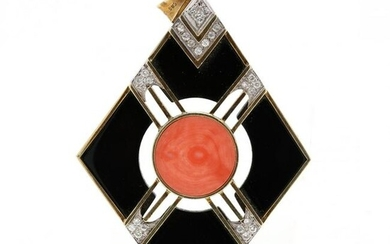 Gold, Coral, Onyx, and Diamond Pendant