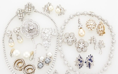 Group of White Gold, Silver, Metal, Cubic Zirconia and Rhinestone Jewelry
