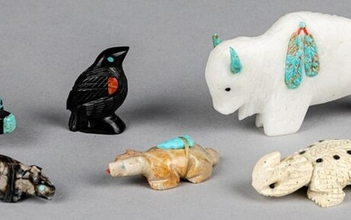 Group of carved Zuni Indian fetish animals