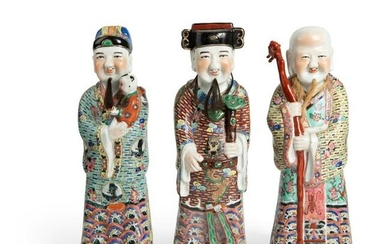 LARGE GROUP OF THREE FAMILLE ROSE FIGURES OF 'SANXING'