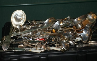 Large Group of Miscellaneous Silver Plate Flatware