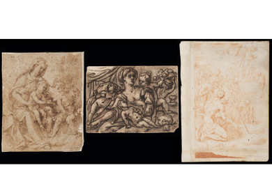 Lot consisting of three drawings: Italian school, late 16th century Madonna with Child and the infant Saint John Pen…Read more