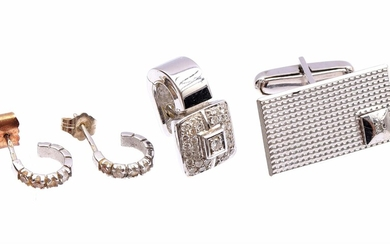 (-), Lot of various white gold jewelry, 14...