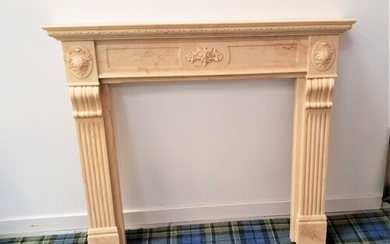 MARBLE EFFECT FIRE SURROUND with a stepped top above floral ...