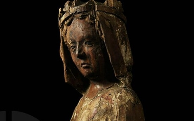 Medieval Oak Bust of a Crowned Woman
