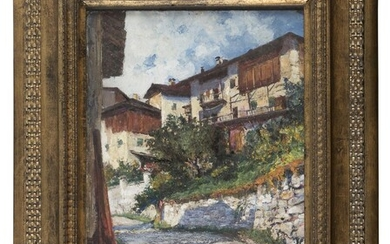 OIL PAINTING OF HOUSES IN VAL DI NON SIGNED 'ROBERTO MARMO' 20TH CENTURY