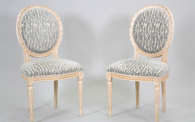 PAIR OF LOUIS XVI STYLE WHITE PAINTED CHAISES