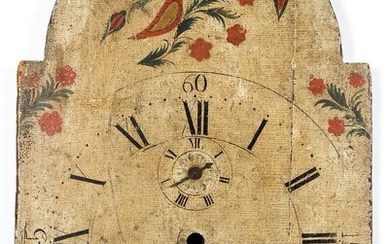 Painted wood tall clock face, 19th c.
