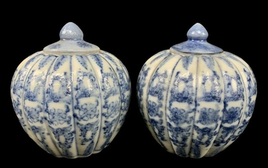 Pair Chinese Export Blue & White Lidded Jars