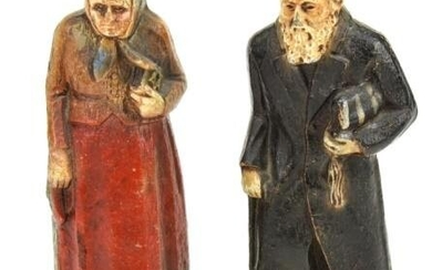 Pair Hand Carved & Painted Russian Figurines