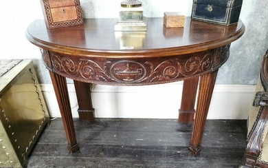 Pair of mahogany demi -lune side tables with carved frieze r...