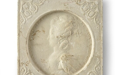 ROYAL FAMILY OF FRANCE.Set of five plaster medallions surmounted by a suspension ring, square in shape, decorated with the profiles of Queen Marie-Antoinette, the Duke and Duchess of Angouleme and the Duke and Duchess of Berry.Small accidents and...