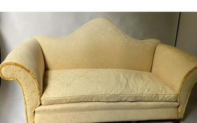 SOFA, Early 20th century, yellow silk damask, with hump back...