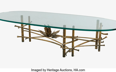 Silas Seandel (b. 1937), A Silas Seandeal Gilt Wrought Iron and Glass Lotus Coffee Table (circa 1975)