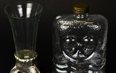 Silver Plated Boar's Head Stirrup Cup & Flask