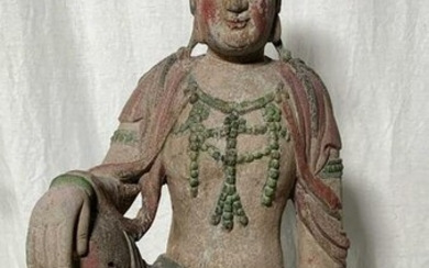 Vintage Carved Wooden Seated Buddha Sculpture