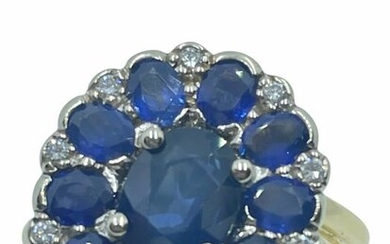 18 kt. White gold, Yellow gold - Ring - 3.40 ct Sapphires - Diamonds