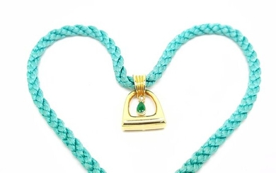 18 kt. Yellow gold - Necklace with pendant - 0.25 ct Emeralds - Diamond