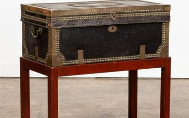 19TH C. BRASS STUDDED LEATHER TRUNK ON STAND