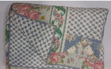 2 machine stitched patchwork quilts in rose themed cotton pr...