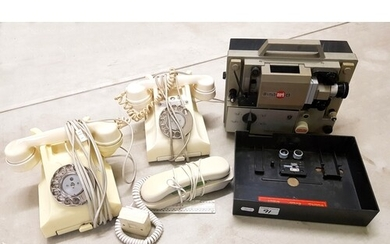 2 x vintage bakelite ivory telephones: together with an Eum...