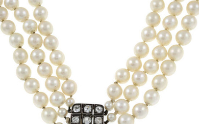 (26911) A cultured pearl three-row necklace, with diamond push-piece clasp.