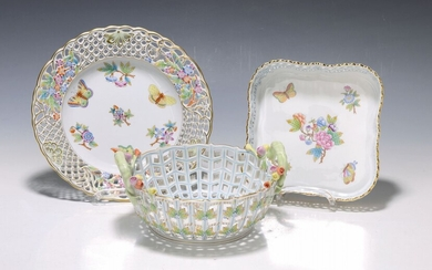 3 pieces Herend porcelain, 20th c., plate with...