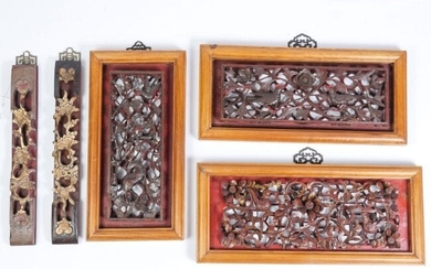 5 PC. CARVED & PIERCED ASIAN WALL PLAQUES