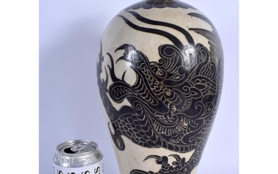 A 19TH CENTURY CHINESE CHIZOU POTTERY MEIPING VASE Qing, pai...