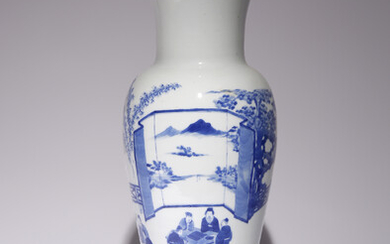 A CHINESE BLUE AND WHITE SLENDER TAPERING VASE