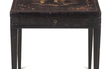 A Chinese Export Lacquered Box on a Later Stand