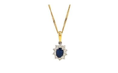 A DIAMOND AND SAPPHIRE CLUSTER PENDANT, of oval form, mounte...
