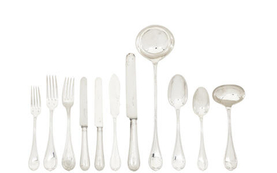 A French silver table service of flatware and cutlery