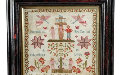 A GEORGE III FOLK ART NEEDLEWORK PARADISE LOST SAMPLER ANONYMOUS, C.1800 worked with coloured wools...