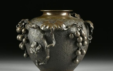 """A JAPANESE """"GRAPE CLUSTER AND VINE"""" PATINATED BRONZE"""