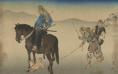 A Japanese woodblock print, early 20th century, depicting a dog at the heels of a horse rider, signed shoson, sheet 27.5 x 18.8cm (unframed)