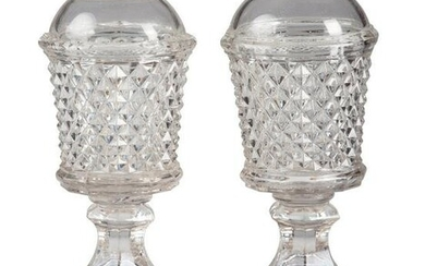 A Pair of Molded Glass Whale Oil Lamps